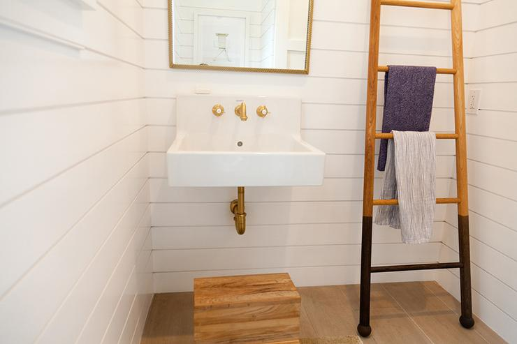 Cottage Powder Room With Shiplap Walls And Towel Ladder