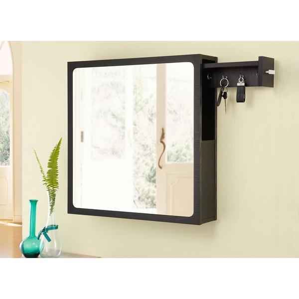 Furniture Of America All In One Black Multi Storage Hanging Mirror