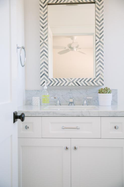 White And Black Bathroom With Gray Bone Herringbone M