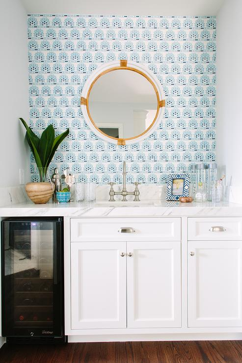 Living Room Bar Nook With Blue Wallpaper View Full Size