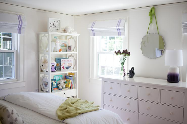 Girls Bedroom Purple And Green white girl bedroom with purple ombre lamp - transitional - girl's room