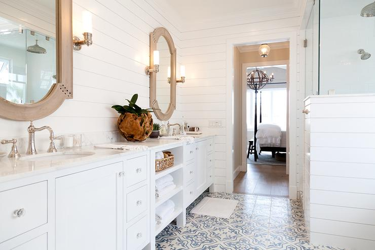 Blue And Gray Mosaic Bathroom Floor Cottage Bathroom
