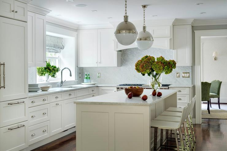 White Kitchen With Polished Nickel Hicks Pendants