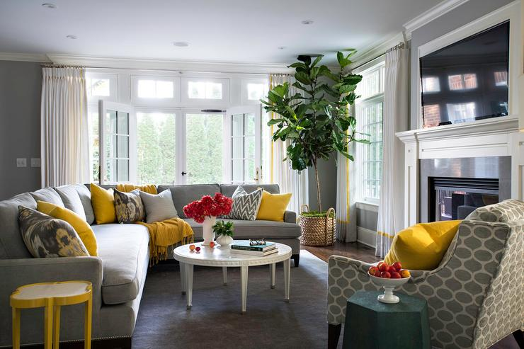 ... Living Rooms · ». Gray Sectional With Yellow And Gray Pillows