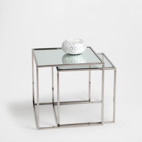 Cubed silver glass nest of tables for Glass top nesting tables