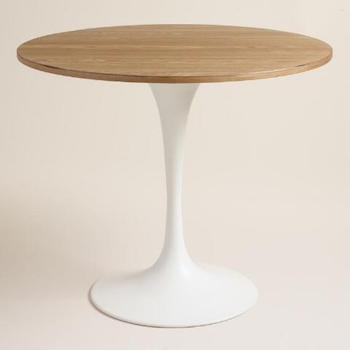 Saarinen round dining table with wood top look for less for White metal dining table