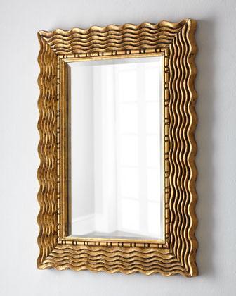Attractive Rectangular Gold Wavy Mirror GV31