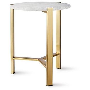 White Marble And Black Metal Round Accent Table