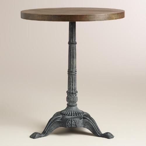 Metal And Brown Wood French Bistro Accent Table