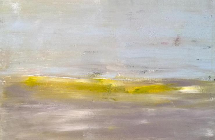 Gray And Yellow Linear Brushwork Art
