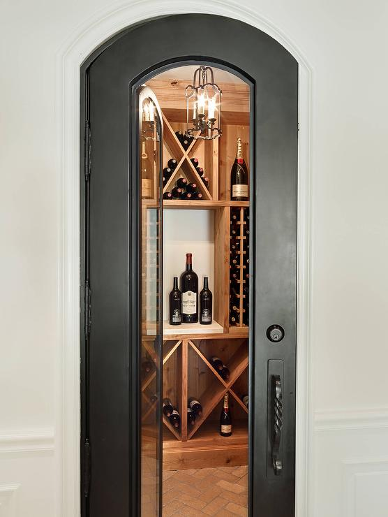 Wine Room with Arched Glass Door and Small Scroll Motif Pendant Lantern & Wine Room with Arched Glass Door and Small Scroll Motif Pendant ...