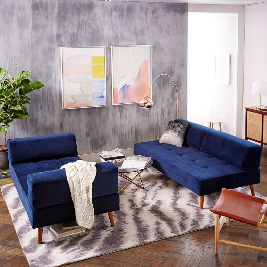 Blue Retro Tillary Sofa Sectional