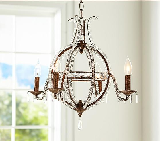 Pottery Barn Carriage Lamp: 1920s Odeon Clear Glass Fringe Chandelier
