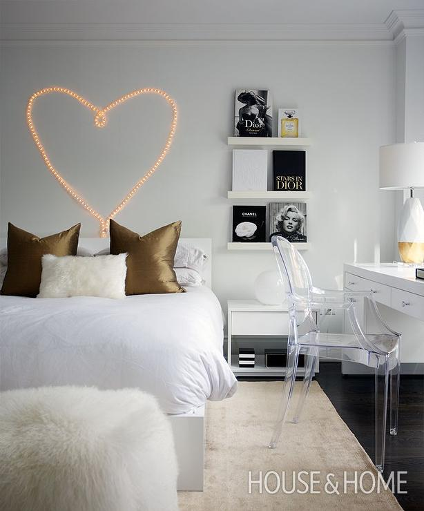 Heart Shaped Lights Over Bed