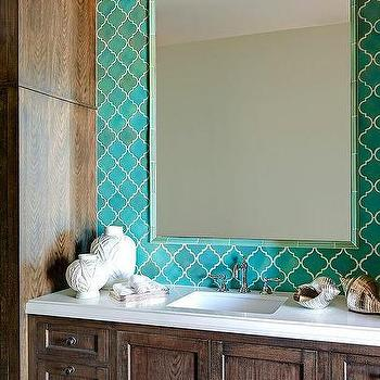 White lacquered bath vanity with blue mosaic moroccan for Blue moroccan tile backsplash