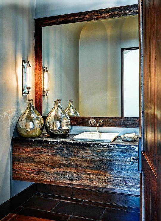 reclaimed barn wood floating vanity with marble sink country bathroom. Black Bedroom Furniture Sets. Home Design Ideas