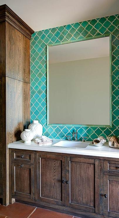 Turquoise blue moroccan tile backsplash with turquoise for Turquoise and brown bathroom decor