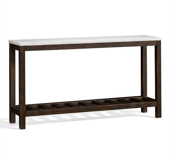 Connor White Marble Brown Console Table
