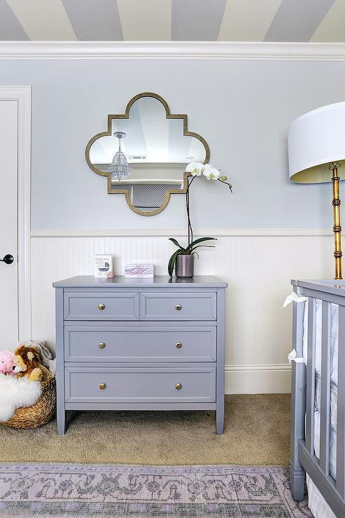 agreeable grey and white baby room ideas. Gray Nursery Dresser with Quatrefoil Mirror  Transitional