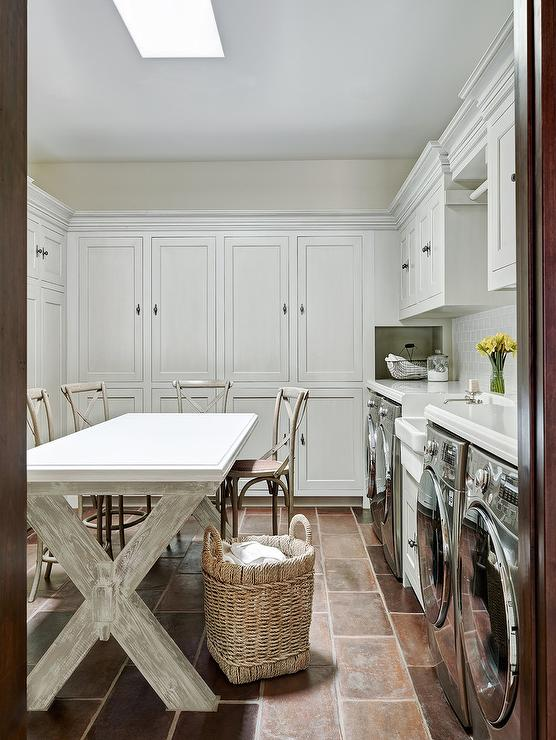 French Laundry Room With Whitewashed X Base Table French