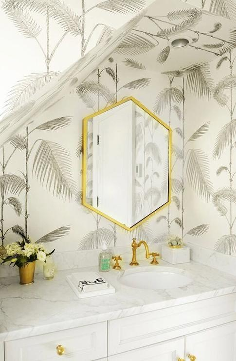 Gray And Gold Bathroom With Rejuvenation Connor Faucet