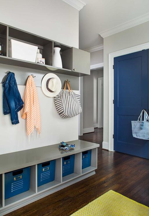 Mudroom Storage Bins : Mudroom overhead cubbies design ideas