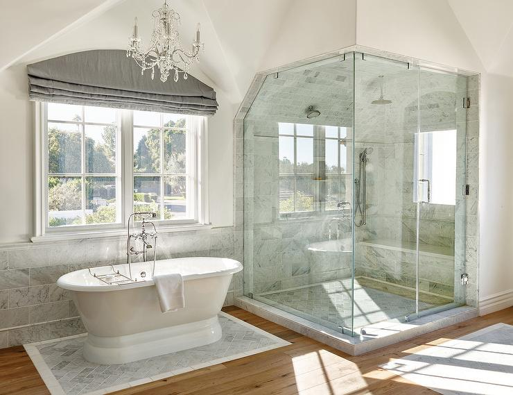 Roll Top Tub on Gray Mosaic Marble Tiles - Transitional - Bathroom