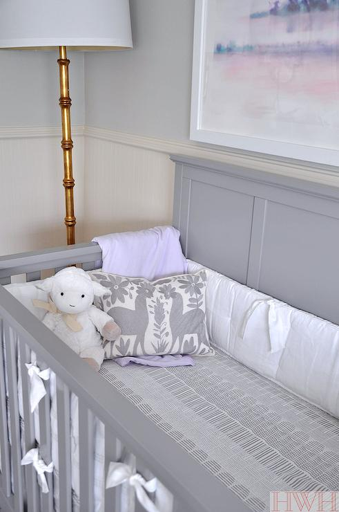 Gray Crib With Purple And Gray Bedding Transitional