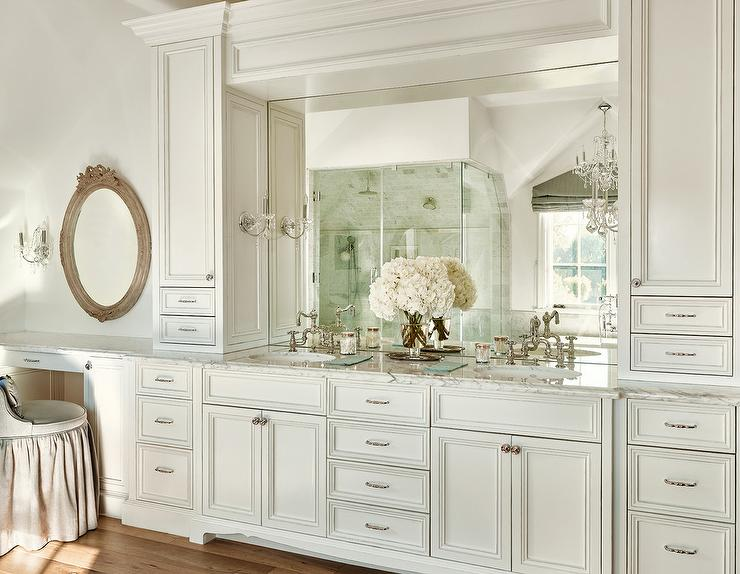 Mirrored Bathroom Cabinet Double Doors Bath Wall Mounted Storage Furniture White: His And Hers Sinks Flanked By Cabinets