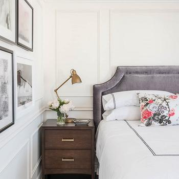 White And Gray Bedroom With Black Ikat Bench