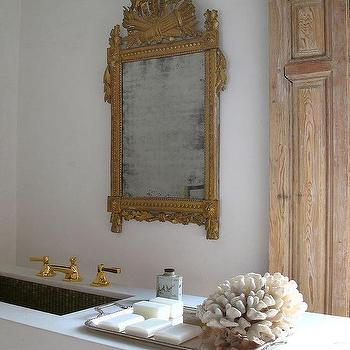Marble Floating Vanity with Gold Ornate Mirror
