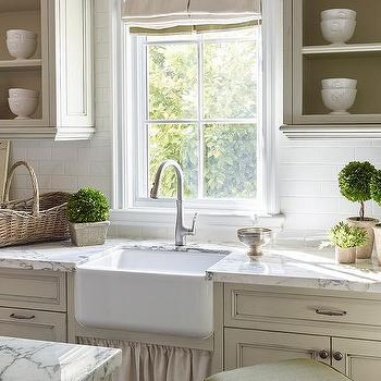 French Country Kitchen With Skirted Farmhouse Sink