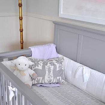 agreeable grey and white baby room ideas. Gray Crib with Purple and Bedding Half Painted Nursery Walls Design Ideas