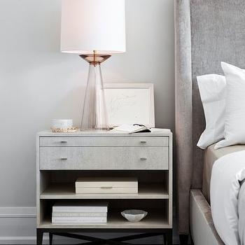 Gray Velvet Wingback Bed With Light Gray Nightstand