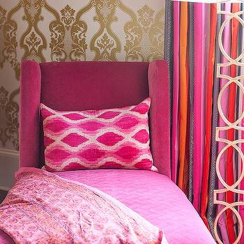 Pink And Gold Teenage Girls Bedroom With White Canopy Bed Contemporary Girl S Room