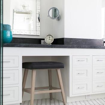 Black And White Bathroom With Vanity Stool