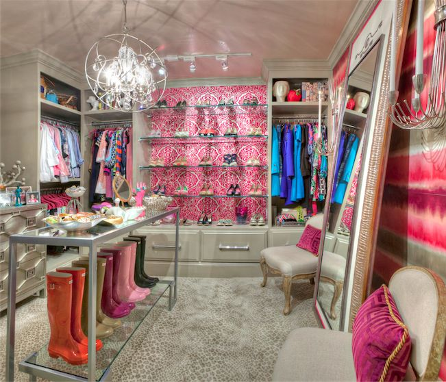 Pink And Gray Closet With Leopard Print Rug