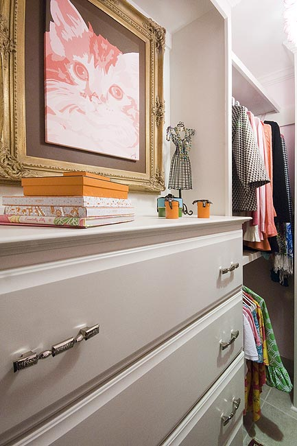 Pink Kids Closet With Built In Dresser