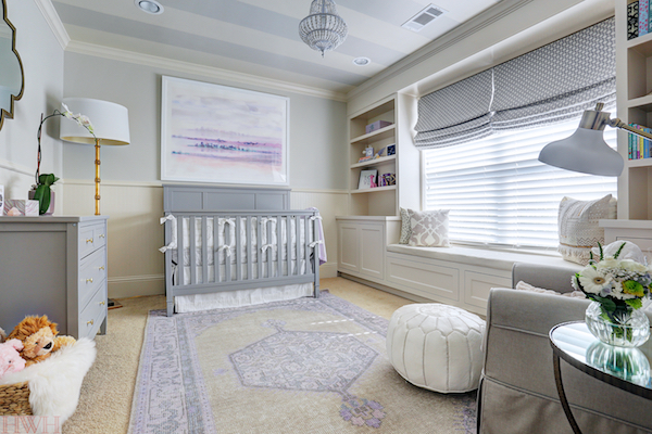 agreeable grey and white baby room ideas. Purple and Gray Nursery Design with Window Seat  Transitional