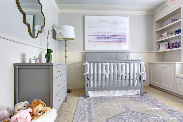 Gray Crib With Purple And Gray Bedding