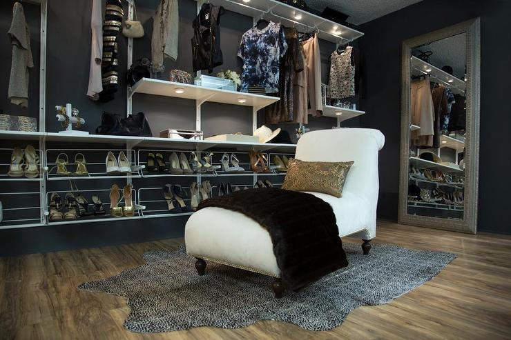 Gray Walk In Closet With White Scroll Chaise Lounge