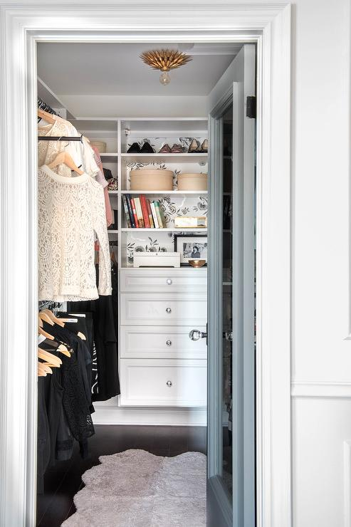 White Walk In Closet With Gold Flush Mount View Full Size