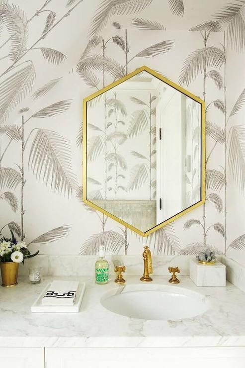 Gray Bathroom With Gold Hex Mirror