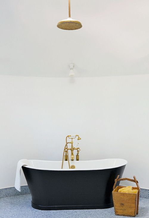 Brass Rain Shower Head Over Freestanding Black Tub
