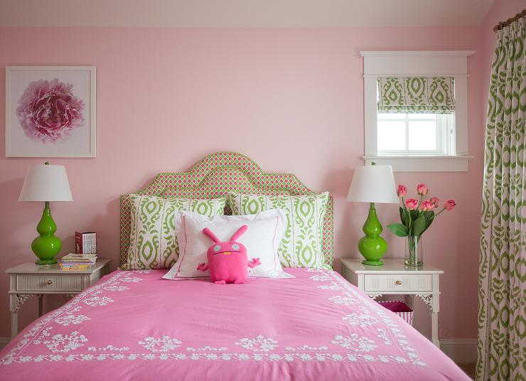 Pink And Green Girls Room With Gray Nightstands Contemporary Girl S Room