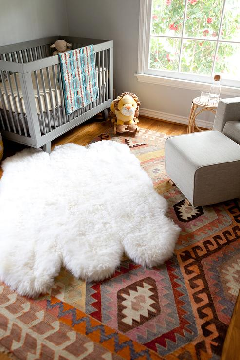 Gray Boys Nursery With Layered Rugs Contemporary