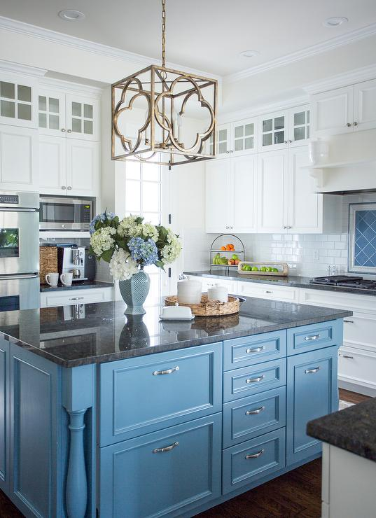Cornflower Blue Kitchen Island With Black Granite Countertop Transitional Kitchen