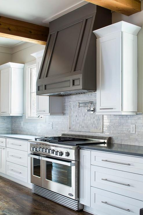 White Kitchen With Dark Taupe Hood Transitional Kitchen