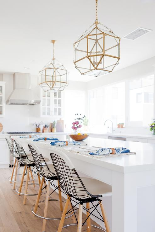 Long kitchen island with suzanne kasler morris lanterns antique brass contemporary kitchen - Chandeliers for small spaces image ...