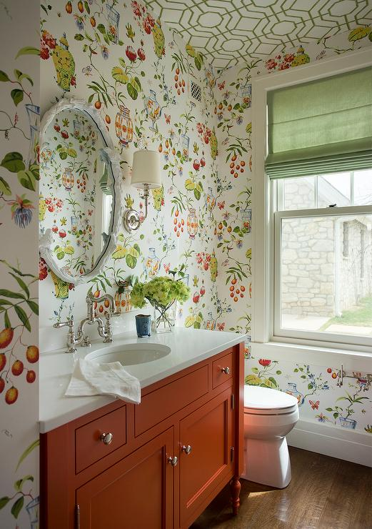 Green And Orange Powder Room With Thibaut Fishbowl Wallpaper